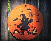 Halloween Witch Pumpkin Large Round Wood Ornament Peg Hook