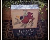 Winter Cardinal Wood Block Shelf Sitter Holiday Home Decor Decoration