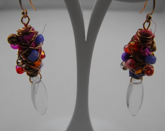Playful Gold and Quartz Crystal Mixed Media Drop Earrings