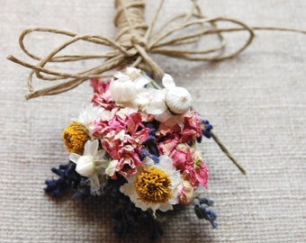 Pin On Corsage or Wrist Corsage of Lavender, Larkspur and Daisies