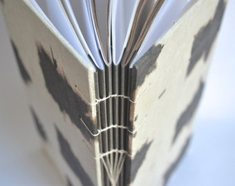 Coptic Journal in Ivory and Brown, Handbound Journal, Coptic Journal with Hand Dyed Covers, Hard Cover Sketchbook with Organic Patterns