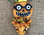 Spooky orange jack o lantern Halloween Folk art  ornament