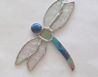 Dragonfly stained glass suncatcher cobalt blue dragon fly
