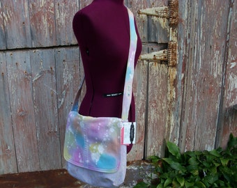 Upcycled Denim Messenger Bag Purse with Pink Polka Dot Vintage Fabric Lining ooak