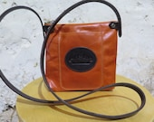 Orange Leather Shoulder Bag with Logo Pocket