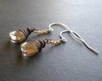 Bohemian Earrings | Steampunk Jewelry | Dark Wire Wrapped Teardrops | Sexy Goth Earrings | Gold Chain | Sparkly Earrings | Birthday Sister