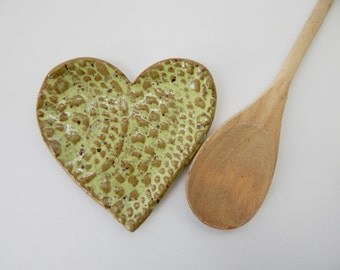 Heart Spoon Rest -  Lace Dish- Lime Green - pottery- Jewelry Dish- Soap Dish- Ceramic Heart- Coffee Spoon rest- Kitchen Decor - Lace pottery