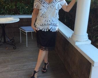 White Lace Over Black Slip Dress
