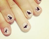 black cat nail transfers - illustrated nail art stickers