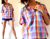 Vintage 70s 80s Plaid Shirt