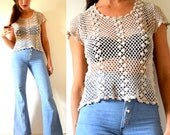 Vintage 60s 70s Taupe Crocheted Blouse (size small, medium)