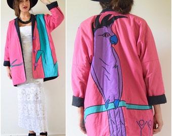 SUMMER SALE / 20% off Vintage 80s 90s Cockatoo Applique Reversible Oversized Jacket