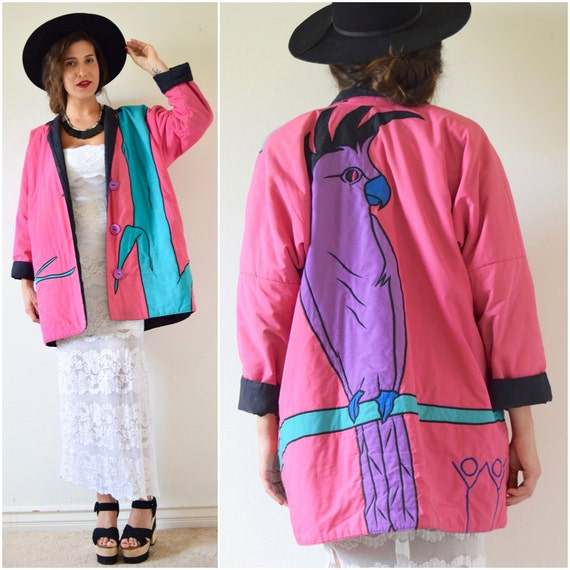 SUMMER SALE/ 30% off Vintage 80s 90s Cockatoo Applique Reversible Oversized Jacket