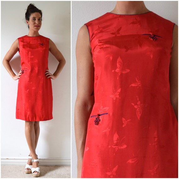 SPRING SALE/ 20% off Vintage 50s 60s Red Silk Butterfly Brocade Mandarin Knot Shift Dress (size medium, large)