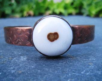 Polda Dot Agate and Oxidized Copper Cuff Bracelet White and Brown Round Gemstone Rustic Boho Artisan Handmade