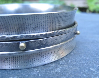 Sterling Silver Spinner Bangle with Yellow Brass Granulation bold bracelet gold and silver mixed metal rustic boho kinetic textured oxidized