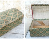 Réserverd to janet Primitive 1900 old French Dome top wood trunk /Storage /Wall paper recovered /coming from Auvergne France
