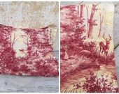 Vintage Antique old French 1930 /30s faded colors cotton fabric  pillow /Toile deJouy/ Deer in forest