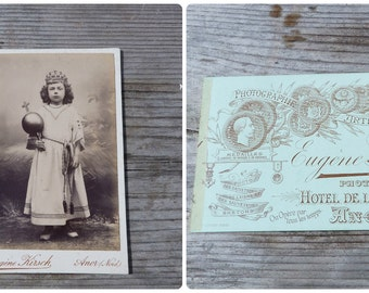 Vintage Antique 1900  French  CDV child disguise / religious