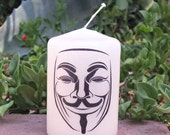 Guy Fawkes Anonymous mask  2 x 3 Pillar Candle