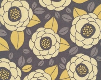 HALF YARD - Joel Dewberry Fabric, Aviary 2, Bloom in Granite, Yellow, Floral