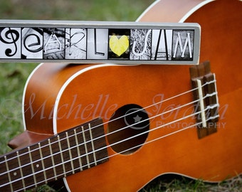 Rustic Wood-mounted PEARL JAM Alphabet Photography Fine Art Piece