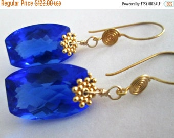 ON SALE Swiss Blue Topaz Earrings, Cushion Cut Stones, 24K Gold Fill Earwires, Dangle Earrings, The Royal Earrings