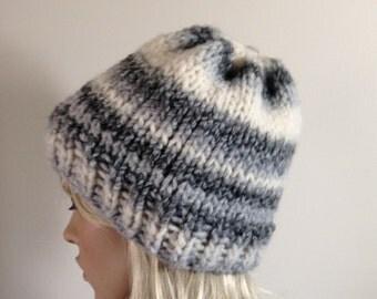 SALE Knit Hat - Chunky Beanie - Women's Hat - Men's Hat - Ski Hat - Winter Cap - Gray Stripes - Vegan Friendly
