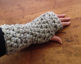 Fingerless Gloves Texting Mitts Wrist Warmers Crochet Gray Marble