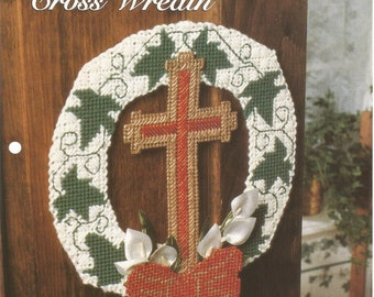 Glistening Cross Wreath, Faith Hope and Charity, Plastic Canvas, Sewing Pattern, Religious Pattern, Home Decor, Christmas decor, Supplies