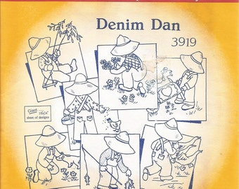 Denim Dan Aunt Marthas Hot Iron Transfers, no 3919, Tranfer Patterns, Embroidery, Fabric Painting, Quilting, Needlepoint, Sewing Supplies