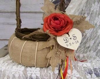 Burlap Flower Girl Basket, Wedding Pumpkin Personalized Basket, Ready to Ship, Rustic Wedding, Fall Wedding, Havest Pumpkin Wedding