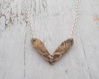 Bronze Spring Maple Seed Necklace