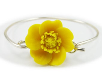 Yellow Buttercup Sterling Silver Bracelet - Buttercup Jewelry