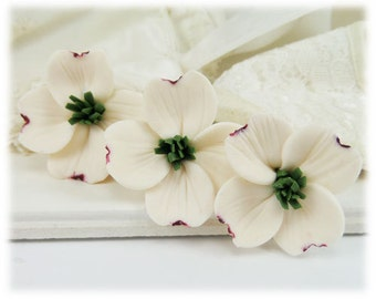 White Dogwood Hair Pin - Dogwood Hair Accessories, Dogwood Wedding Hair Pins