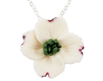 White Dogwood Flower Necklace - Dogwood Pendant, Dogwood Charm, Dogwood Wedding Jewelry , Dogwood Jewelry, Flower Jewelry
