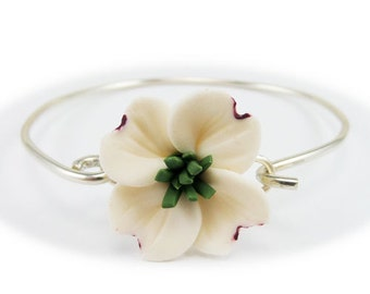 Dogwood Bracelet Sterling Silver Bangle - Dogwood Jewelry, White Dogwood Jewelry