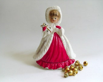 Vintage Christmas Girl with Present Ceramic Planter, Brinn's TX-1036, Napco Lefton