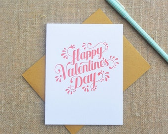 Letterpress Greeting Card - Valentine Card - Happy Valentines Day - WMH-418