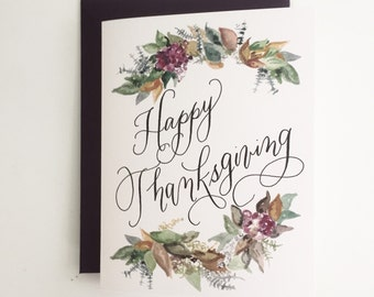 Happy Thanksgiving ~ Watercolor Greeting Card
