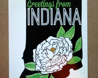 Indiana Peony Postcard (Black/White/Green)