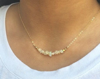 THREE DAY SALE Opal Bar Necklace Dainty Layering Necklace Gold Fill Opal Jewelry Bridesmaids Gift Ethiopian Opal Necklace