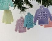 Set of six porcelain jumper decoration, rainbow coloured sweater Christmas ornaments