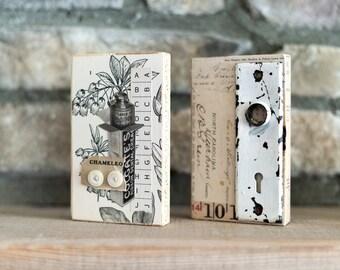 Collage Art Block, Mixed Media Collage Art, Original Collage on Wooden Block, Vintage Art Block, Botanical