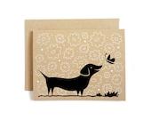 Dachshund Card / Anytime Card / Doxie Card / Wiener Dog Card / Hand Screen Printed / Kraft Card