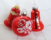 Vintage Set Of 3 Red Christmas Ornaments