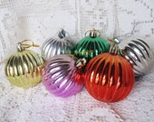 Vintage 1960's Lot Of 6 Plastic Ribbed Christmas Ornaments