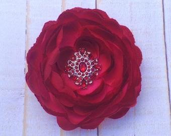 "Cranberry Red Maroon 3.75"" Vintage Ranunculus Flower with Red Cluster Rhinestone Flower Clip Wedding Bridesmaid Flower Girl Hair Flower Clip"