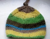 Unisex baby's beanie hat wool rich yarn hand knitted Classic design Contemporary colours  - blue, grey, yellow, green