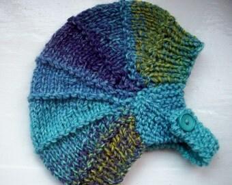 Vegan child's hat, aviator hat, unisex hat, knitted toddler hat, unisex hat, soft, warm, earflap hat, blues